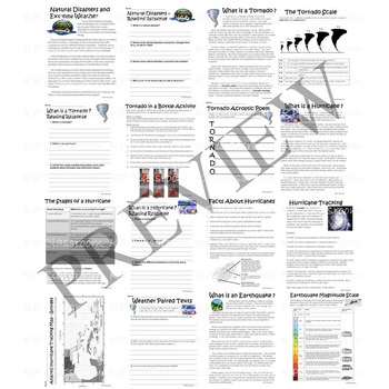 Natural Disaster and Extreme Weather Activity Packet and Worksheets