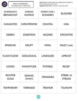 Natural Disaster game cards (Intermediate + Advanced)
