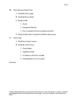 Natural Disaster research Paper Project Expectations