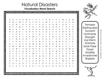 Natural Disasters Worksheet Activity