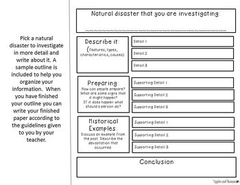 Natural Disasters Fact Sheets Note Taking Templates