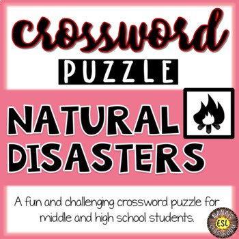 Natural Disasters ESL/ELL Activity Crossword Puzzle