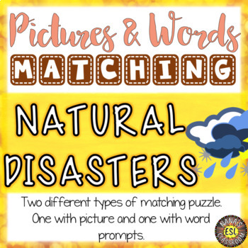Natural Disasters ESL Activities Picture and Definition Matching Puzzles