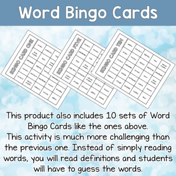 Natural Disasters Bingo Cards Vocabulary Words for ESL and Special Ed