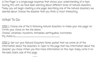 Natural Disasters Brochure Activity