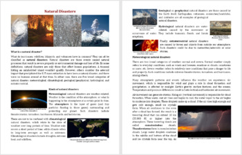 Natural Disasters Reading Comprehension Article - Grade 8 and Up