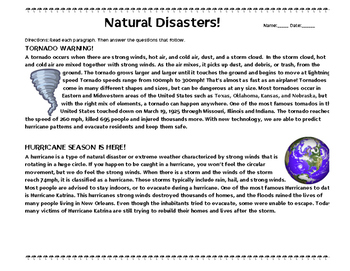 Natural Disasters Easy Comprehension