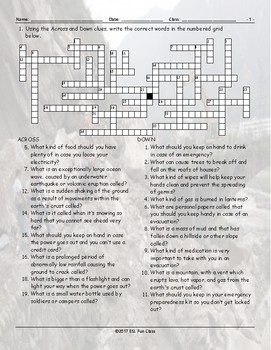 Natural Disasters-Emergency Preparedness Crossword Puzzle