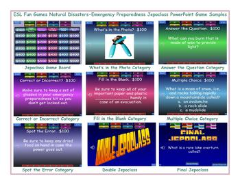 Natural Disasters-Emergency Preparedness Jeopardy PowerPoint Game Slideshow