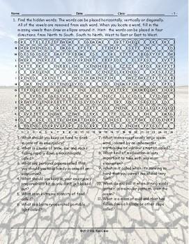 Natural Disasters-Emergency Preparedness Missing Vowels Worksheet