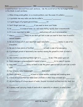 Natural Disasters-Emergency Preparedness Missing Word Worksheet