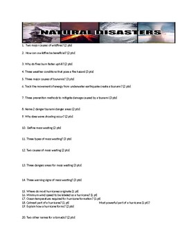 Natural Disasters Exam/Test