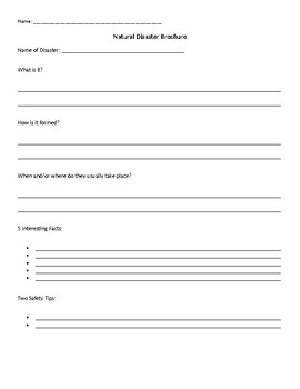 Natural Disasters Graphic Organizer Brochure