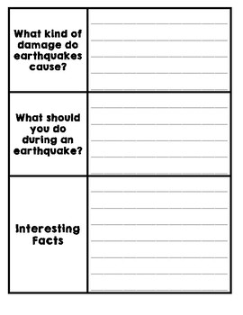 Natural Disasters Graphic Organizer - Earthquakes