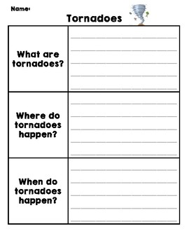 Natural Disasters Graphic Organizer - Tornadoes