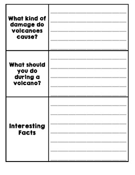 Natural Disasters Graphic Organizer - Volcanoes