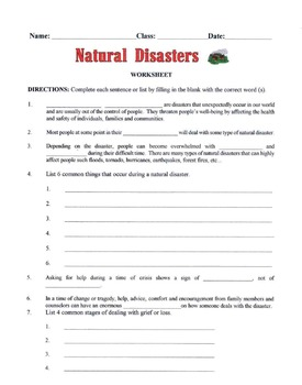 Natural Disasters Lesson