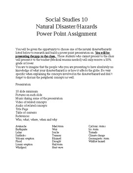 Natural Disasters PP Assignment