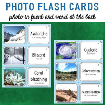 Natural Disasters Photo Flash Cards Vocabulary Words for ESL, EFL, ELL, Sp Ed...