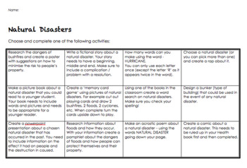 Natural Disaster Placemat Activity