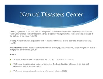 Natural Disasters Centers Activity