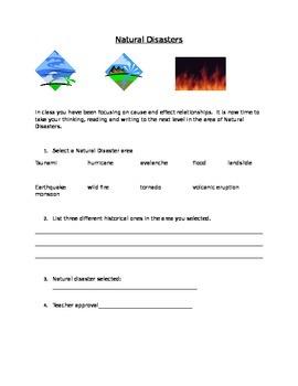 Natural Disasters Cause and Effect Research Project