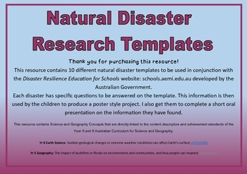 Natural Disasters Research Templates