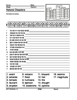 Natural Disasters Secret Code Printable