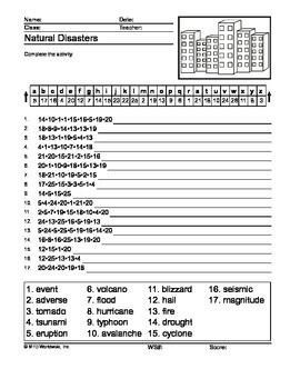 Natural Disasters Secret Code Printable