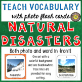 Natural Disasters 30 Flash Cards: Photo and Word in front