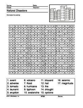 Natural Disasters Word Search Printable