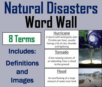 Natural Disasters Word Wall Cards/ Severe Weather Word Wall