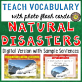 Natural Disasters Digital Flash Cards with Sample Sentences
