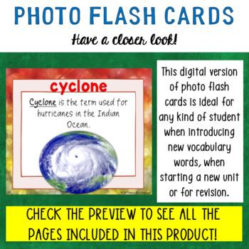 Natural Disasters Digital Flash Cards with Sample Sentences