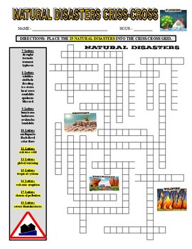 Natural Disasters Wordsearch