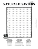 Natural Disasters Word search Worksheet Puzzle