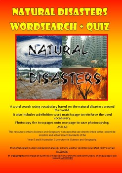 Natural Disasters - Wordsearch and Quiz