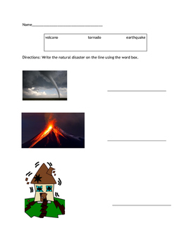 Natural Disasters Work Sheets