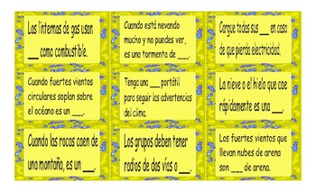 Natural Disasters and Emergencies Spanish Card Game