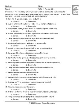 Natural Disasters and Emergencies Spanish Correct-Incorrect Exam