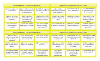 Natural Disasters and Emergencies Spanish Tic-Tac-Toe or Bingo Game
