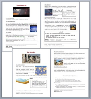 Natural Distasters and Weather - Grade 5-7 Science Reading Comprehension Bundle