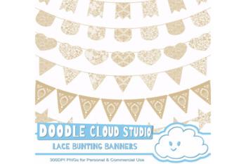 Scrapbook printables fabric Burlap ribbons banners Commercial Use Clip art logo graphics Linen Ribbon Banner Clipart