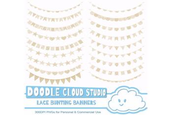 Natural Ecru Beige Lace Burlap Bunting Banners Cliparts, multiple lace texture