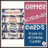 Natural Glitter Schedule Cards for Upper Elementary and Primary Classrooms