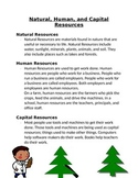 Natural, Human, and Capital Resources Handout