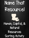 Natural, Human, and Capital Resources Sorting Activity Sheet