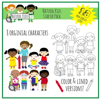 Natural Kids Clip Art Starter Pack (Commercial Use)