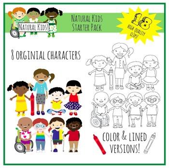 Natural Kids Clip Art Starter Pack (Commercial Use)
