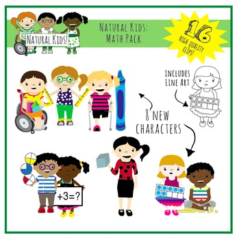 Natural Kids Clip Art Math Pack (Commercial Use)